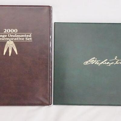 1058LOT OF TWO COMMEMORATIVE STAMP/COIN SETS. LOT INCLUDES; 2000 COURAGE UNDAUNTED SET, & THE BICENTENNIAL OF GEORGE WASHINGTONS...