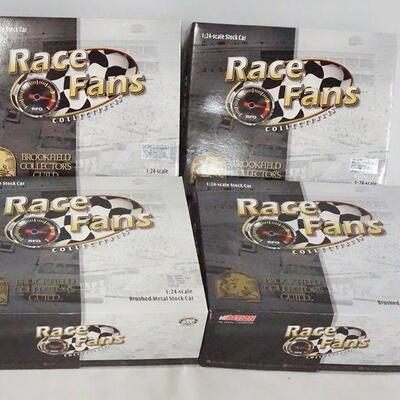 1003LOT OF FOUR LIMITED EDITION ACTION RACE FANS COLLECTABLES; BROOKFIELD COLLECTORS GUILD, NASCAR 1:24 SCALE MODEL CARS. IN ORIGINAL...