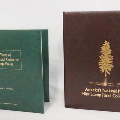 1033LOT OF TWO COMMEMORATIVE STAMP ALBUMS; 60 YEARS OF SPECIAL COLLECTOR STAMP SHEETS & AMERICAS NATIONAL PARKS MINT STAMP PANEL...