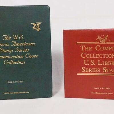 1032LOT OF TWO COMMEMORATIVE STAMP ALBUMS; FAMOUS AMERICANS STAMP SERIES & THE COMPLETE COLLECTION OF U.S. LIBERTY STAMPS