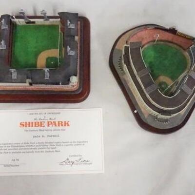 1084LOT OF TWO MODEL BASEBALL FIELDS FROM THE DANBURY MINT; SHIBE FIELD & YANKEE STADIUM.