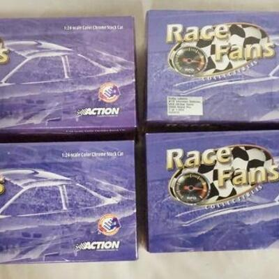 1012LOT OF FOUR ACTION RACE FANS COLLECTABLES NASCAR 1:24 SCALE MODEL CARS IN ORIGINAL BOXES