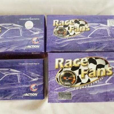 1045LOT OF FOUR LIMITED EDITION ACTION COLLECTABLES RACE FANS NASCAR 1:24 SCALE MODEL CARS, INLCLUDING ONE MOUNTED ON A BASE IN ORIGINAL...