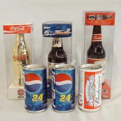 1076LOT OF SIX NASCAR 1:64 SCALE MODEL CARS IN BEER/SODA CANS/BOTTLES.