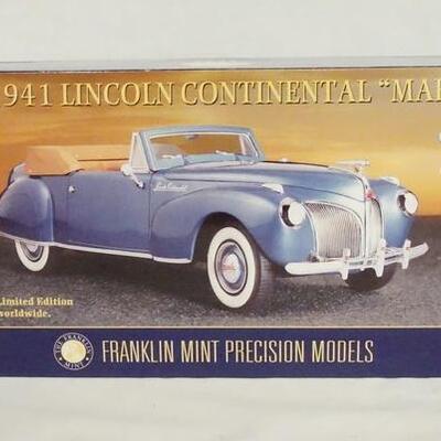 10181941 LINCOLN CONTINENTAL *MARK I* 1:24 SCALE FRANKLIN MINT LIMITED EDITION PRECISION MODEL IN ORIGINAL BOX.