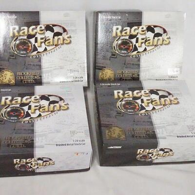 1002LOT OF FOUR LIMITED EDITION ACTION RACE FANS COLLECTABLES; BROOKFIELD COLLECTORS GUILD, NASCAR 1:24 SCALE MODEL CARS. IN ORIGINAL...
