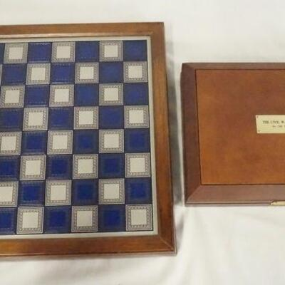 1036CIVIL WAR CHESS & CHECKERS SETS. THE CHESS SET MEASURES 12 3/4 SQ