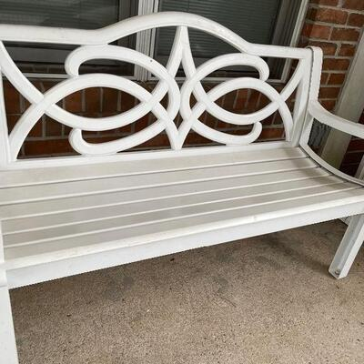 White metal out door bench