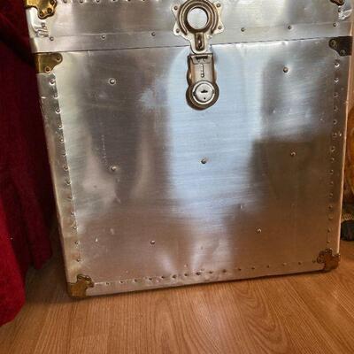Antique Industrial Spanish Aluminum and Wood Trunk