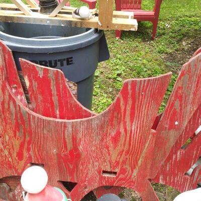 Red Santa Wood Sleigh pieces