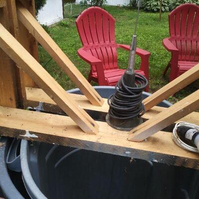 Wood handmade sawhorses & magnetic CB antenna