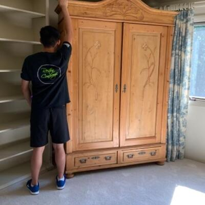 Rustic Pine French Gentleman's Closet/Armoire. Separates into 2 pieces
