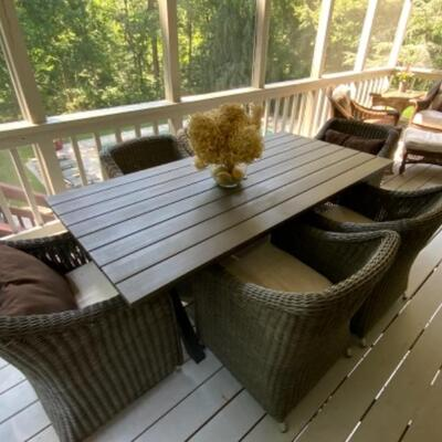 Outdoor rectangular dining room table still available. Chairs sold