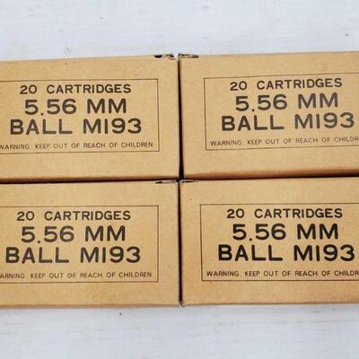 #860 • 22 Rounds Of 5.56 MM Ball MI93, 20 Rounds Of 5.56 MM Ball MI93 Shells