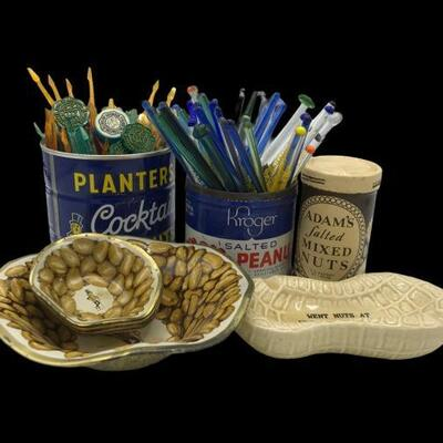 This lot contains peanut themed memorabilia that includes a vintage Planter's can, Adam's Mixed Nuts and Kroger's nuts. Planter's 2 piece...
