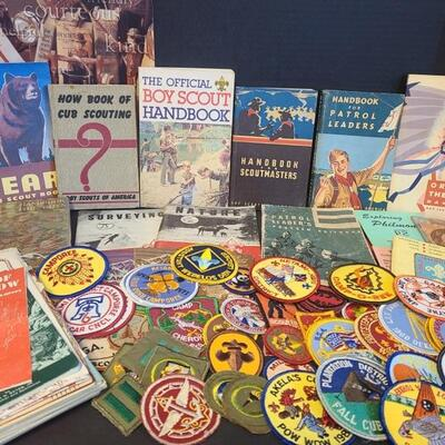 Wonderful collection of Boy Scouts memorabilia. Includes books and patches. Some of the patches are dated 1960, 1976, 1983, 1990 and...