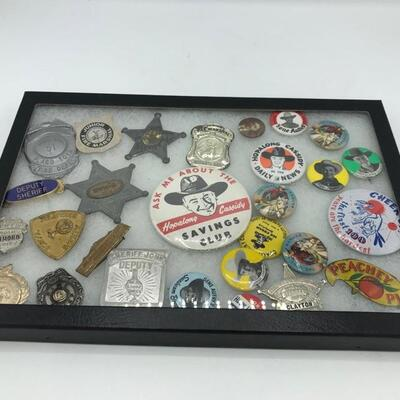 In this lot you will find sheriff badges and cowboy buttons. Cowboy pins feature Roy Rogers, Hopalong Cassidy, The Lone Ranger, Gene...