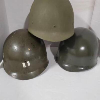 Set of 3 fiberglass ground troop liner Military Helmets from Vietnam Era. https://ctbids.com/#!/description/share/955248