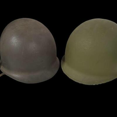 Set of 2 military helmets from  WW2. Metal helmets are approximately 11x9x6