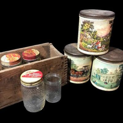 """Vintage tobacco canisters and Kraft mustard jars and a little storage box measuring 6""""x 11"""". https://ctbids.com/#!/description/share/955256"""