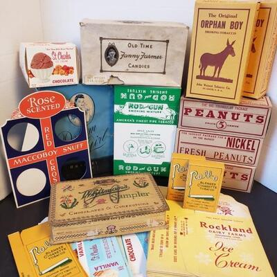 Includes Roll-O and Orphan Boy Smoking Tobacco, Maccoboy Snuff, Whitman's and Old Time Fanny Farmers Candy, St. Charles and Rockland Ice...
