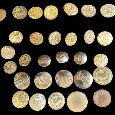 Includes 30 brass buttons from WW2 and later, some buttons do have Waterbury stamped on back. https://ctbids.com/#!/description/share/955272
