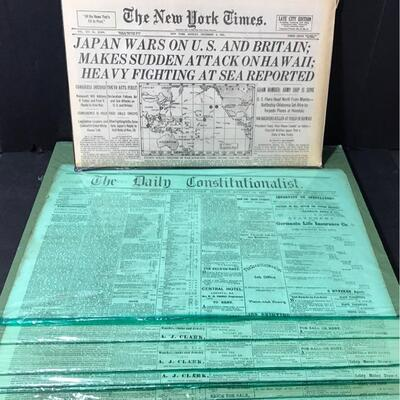 """This lot contains four copies of """"The Daily Constitutionalist"""" from 1873 and a copy of """"The New York Times"""" from 1941 after the attack on..."""