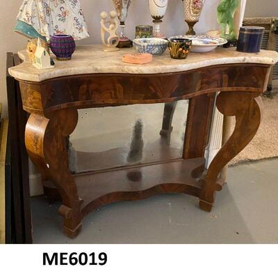 ME6019: Marble Top Server Table with Mirror