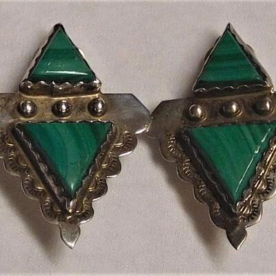 Sterling Malachite Earrings