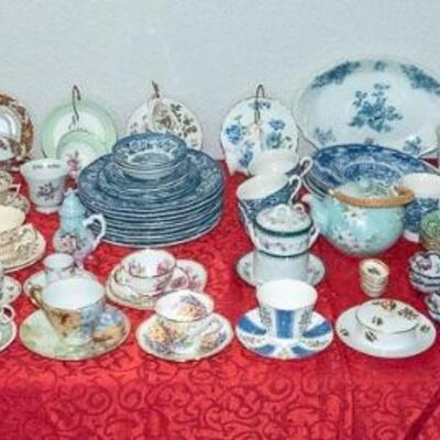 TABLES FULL of Vintage Ceramics and Glassware