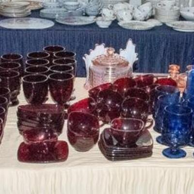 Tables of VINTAGE Glassware