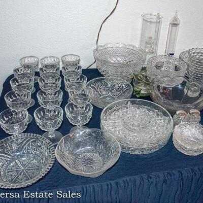 Tables of VINTAGE Crystal and Glassware
