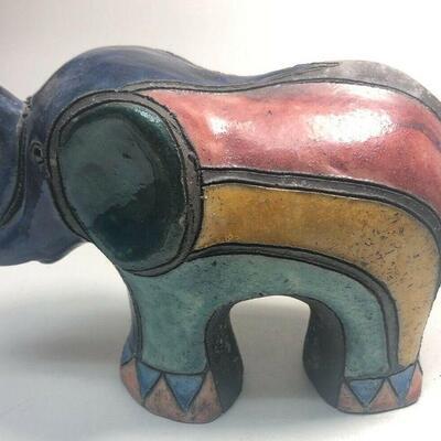 https://www.ebay.com/itm/114889066473ME7010 South African Raku Pottery Elephant Figurine (dark blue head) (Large)