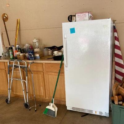 Upright freezer & dishes, etc.