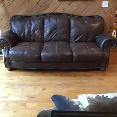 Leather nail head sofa