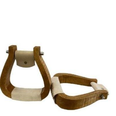 101  Showman ® Curved wooden stirrup with leather tread. 2-3/4