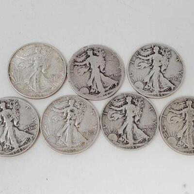 #1932 • Seven Walking Liberty Half Dollar Coins