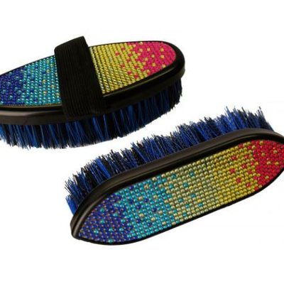 142  (2) Showman™ Multi colored crystal rhinestone medium bristle brush. Features durable hard plastic base and accented with multi...