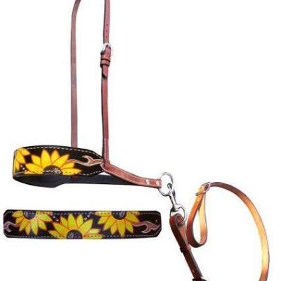 91  Showman ® Hand Painted Sunflower and leather print leather tie down noseband and strap. Noseband features a hand painted sunflower...