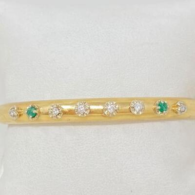 #1134 • 14K Gold Bracelet With Accent Diamonds-9.4g