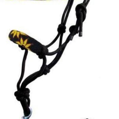 77  Sunflower beaded nose cowboy knot rope halter with 7' lead. Sunflower beaded nose cowboy knot rope halter with 7' lead. This rope...