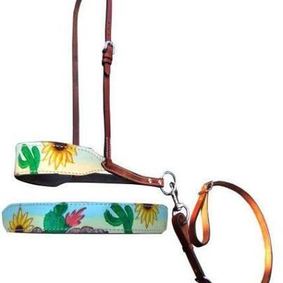 90  Showman ® Hand Painted Sunflower and cactus print overlay leather tie down noseband and strap. Noseband features a hand painted...