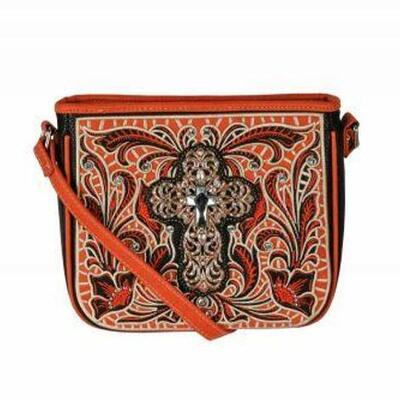 154  Montana West ® Cross body purse with large cross concho and crystal rhinestones. Made of high quality leather-like material....