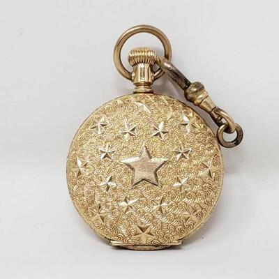 1290 • 1893 AMERICAN WALTHAM 14K Gold Filled Elgin Hunter Case POCKET WATCH Stars WORKS-44.2g