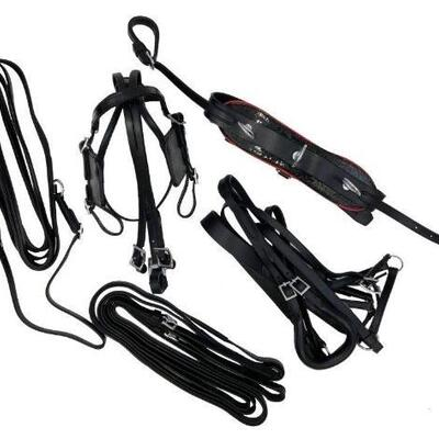 76: 75  Mini Horse / Small Pony leather driving harness This set features an adjustable blind bridle with overcheck, fancy red trimmed...