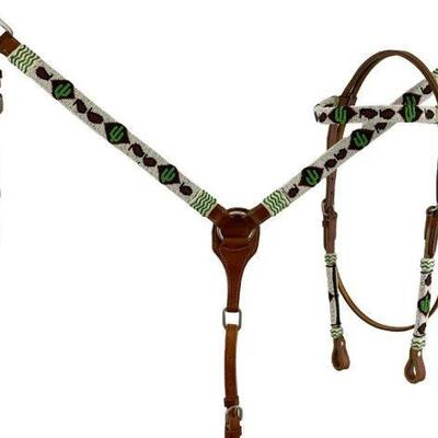 74  Showman™ Medium oil leather browband headstall with beaded cactus design. This set features a beaded cactus  design with in white...