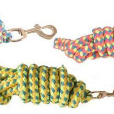 133  (2) 8' Braided Softy Cotton Lead Rope. Features bright multi color pattern. Lead is equipped with brass snap and measures 8' long.