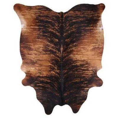 "172  Large Brazilian Brindle hair on cowhide rug. Measures Approx 87""x71"""