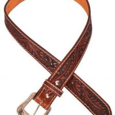 157  Showman ® Men's Agrentina Cow Leather Belt. This belt is made from Argentina cow leather, genuine hand tooled, and is dark brown in...
