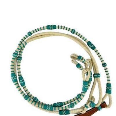 136  Showman ® Braided Natural Rawhide & Teal Romal Reins with Leather Popper. These reins feature supple natural / teal rawhide with...